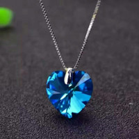 Wholesale Sales Promotio Blue Heart Crystal Lady s Sterling Silver Jewlery Set Necklace Earrings Anklet set IBS161001