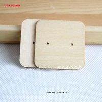 Wholesale Natural Wooden Earring Tags Jewelry Label Cards Display Jewelry Holder Blank Square Shape CT1147B