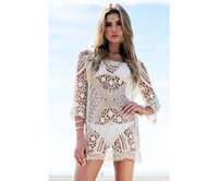 Wholesale Bikini Beach Cover Ups Women Sexy Summer Plumblossom Lace Hollow Out Crochet Long Sleeve Beach Swimwear Cover Ups Women Cover Ups Lace Smock
