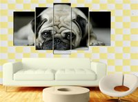 Wholesale LK5151 Panel Combination Popular Black Pug Oil Painting Modern Animal Wall Art Pictures Prints On Canvas For Modern Home Office Hotel Bar