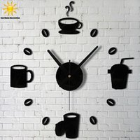 Wholesale 2016 new sale wall clock clocks d DIY black Acrylic mirror Stickers Modern Home Decoration