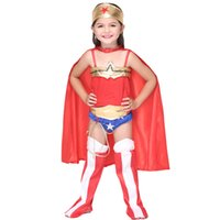 Wholesale Kids Halloween Superhero Costumes Jumpsuit with Cape Cloak Scarf Cosplay Props Stage Wear Outfits Girl America Superman Costume