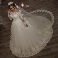 Wholesale 2017 Vintage Off the Shoulder Ball Gown Wedding Dresses Top Lace Illusion Long Sleeves Autumn Winter Bridal Gowns vestido de noiva BA2878