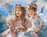 angels coloring - Frameless picture on wall acrylic paint by numbers diy painting by numbers Christmas gift coloring by numbers angel sister