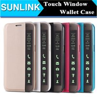 auto customizing - Smart Touch Window View Flip Stand Sleep Auto Wake Case for Samsung Galaxy S6 Edge Plus S7 Edge PU Leather Wallet Semitransparent Side Cover