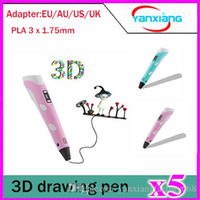 Wholesale 5pcs Intelligent LED Screen D Printing Pen Doodle Model Making Arts Crafts Drawing Pen With x mm PLA Filament Blue pink YX DY