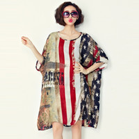 american flag gown - 2016 Casual Summer Wear Women Dresses Plus Size American Flag Pattern Print O Neck Chiffon Shirt Dress
