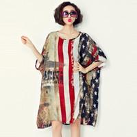 american flag gown - 2016 Casual Summer Wear Women Dresses Plus Size American Flag Pattern Print O Neck Chiffon Shirt Dress