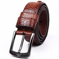animal skin belt - 2016 New Fashion Style genuine leather belt men Wide Designer crocodile mens belts Luxury real Cow skin strap male Brown cm