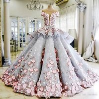 Cheap 2016 Summer Dreaming Ball Gown Wedding Dresses 3D Flora Appliques Sheer Back Jewel Neck Corset Luxury Romance Bridal Gown High Custom Real