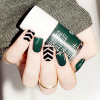Wholesale YW dark green black stripes on the finished short Manicure false nail glue a piece boxed patch
