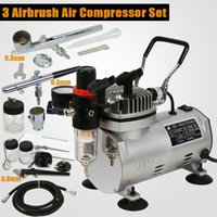 Wholesale New Dual Action Spray Air Brush Set Airbrush Compressor Kit Tattoo Manicure