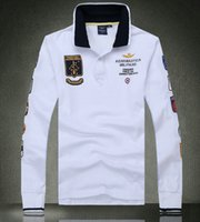 Wholesale 2016 Sale Autumn Tees Men s Clothes Long Sleeve T shirts Embroider Polos Shirts Air Force One Cotton Fashion Plus Size
