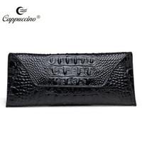 big money clip - 2016 New Ladies Purse long leather fashion big crocodile leather boutique hand money clip tide Large capacity cowhide women wallet female ha