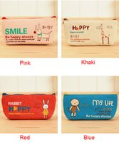 Wholesale Canvas Animal Pen Pencil Case Coin Pouch Make Up Cosmetic Purse Waterproof Bag
