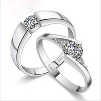 Wholesale 20pcs High Qulity Sterling Silver White gold Plated CT Swiss Diamond Rings For couple