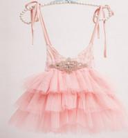 belt cake - Girls princess dress new children Rhinestone lace belt lace suspeder dress kids lace tulle tutu cake dress children s days dress A8690
