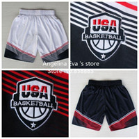 Wholesale 2014 World Cup USA Basketball Shorts Curry Durant Irving Rose Harden Davis White Dark Blue World Cup Basketball Shorts S XXL