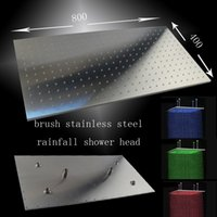 sanitary ware - Factory Supply Sanitary Ware stainless steel rectangular cm Top ceiling rainfall Bathroom shower head with leds