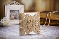 Wholesale gold flower lace Laser Cut wedding invitations cards High Quality Folded Paper made rsvp cards Bride invitation cards accessories