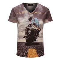 Wholesale New Vintage Short V neck D Printed T shirt Men Brand Cotton Mens T Shirt Fashion Camisetas Hombre Fitness Clothing M0577