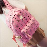 Wholesale 2016 spring and summer rivet shoulder bag female Korean fashion pu printing medium satchel bag backpack College Wind