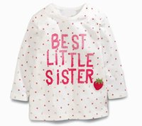 best sister shirt - 2016 Autumn New Girl T shirts Best Little Sister Strawberry Print Cartoon Cotton Long Sleeve T shirts Children Clothing