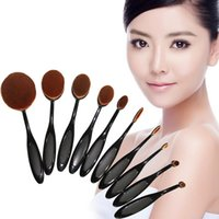 Wholesale 2016 Makeup Brush With Opp Bag Beauty Toothbrush Shaped Foundation Power Makeup Oval Cream Puff Brushes sets Oval Brushes DHL