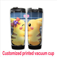 baby plastic cup - Customized vacuum cup water tea coffee DIY cup character printed cartoon plastic double layer cups kids baby feeding ML