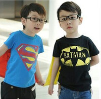 Cheap Boys Batman cloak T-shirts 2 Design children Superhero cartoon cape Short sleeve T-shirts baby clothes B001