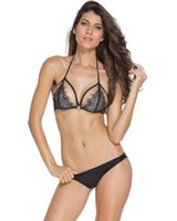 Wholesale Sexy Lingerie Hot Intimate Sexy Women Hollow Out Black Eyelash Lace Sheer Cage Strap Bra Lingerie Surface Lace Underwear Suit