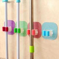 Wholesale 1 Home Wall Mounted Hanger Storage Rack Kitchen Bathroom Mop Holder Brush Broom Organizer