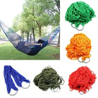 Wholesale Portable Nylon Hammock Hanging Mesh Sleeping Bed Swing Outdoor Camping Hiking Traveling Kits cmx80cm