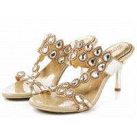 Grande taille 34-44 nouvelles talons aiguilles de talons hauts de talons aiguilles d'esthétique de femmes d'été gladiateur ouvert sandales de rhinestone de diamant d'orteil chaussures de crtstal pary de dames