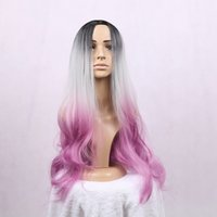 Wholesale Long Grey Wig Heat Resistant - New brand Ombre Grey Bodywave Synthetic Wig Glueless Long Natural Black SilverGrey Purple Heat Resistant Hair Wigs women no lace