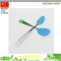 Wholesale High Quality Baby Spoon infant feeding silicone Baby Fork Heat Sensing Thermal Feeding Supplies Spoon Kids Tableware