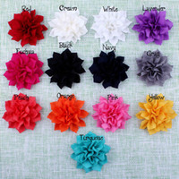 artificial lotus - 3 Multilayer Chiffon Lotus Flowers Artificial Flatback Fabric Pointed Flowers Children Hair Accessories Corsage Headbands Flower Colors