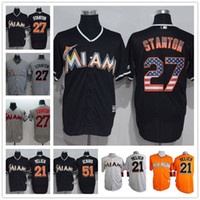 christian - Miami Marlins Giancarlo Stanton Martin Prado Suzuki Ichiro Christian Yelich Majestic MLB Baseball Jerseys Orange Black Gray