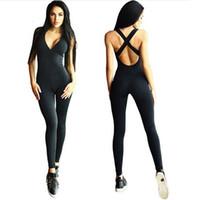 Wholesale Fashion Skinny Running Sport Fitness Yoga Jumpsuit Sexy Deep V Neck Bandage Bodysuit Women Romper Overalls Combinasion Femme Plus Size
