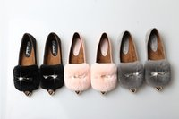 Wholesale leather rabbit hair size diamond shoes with warm water velvet Maomao shoes eur size