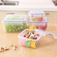 Wholesale 4Pcs Set Durable Food Storage Boxes Safe Transparent Plastic Containers Sealed Crisper Multifunction Kitchen Organizador JH0057