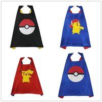 Wholesale Cape Halloween Cosplay Poke go pokeball pikachu double layer capes boy girl Party Costume for Kids Clothes Children Christmas Hallowmas Gift