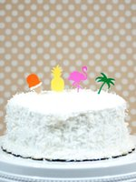 Wholesale Pineapple flamigo cupcake toppers Wedding Food Picks Bridal Bachelorette Baby Shower Birthday tropical Summer Party Decor