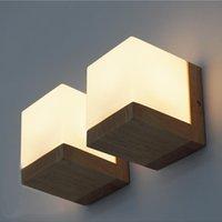 bathroom lamp shades - Modern Oak Wood Cube Sugar Shade Wall Lamp Bedroom Wooden Glass Wall Sconce Bedside Wall Light bathroom fixtures Home Lighting