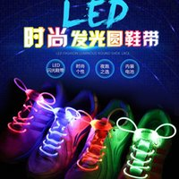Wholesale 30pcs pairs LED Shoelaces Light up LED Flashing shoe laces Fiber Optic Shoelace Luminous Shoe Laces Light Up Shoes lace drop shippin
