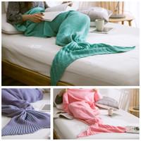 Wholesale Mermaid Tail Blanket Adult Little Mermaid Blanket Knit Cashmere Like TV Sofa Blanket Snuggie Couverture x190cm