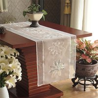 Wholesale Rolay Classical table decoration Organza Table Runner Embroidered Flower Table Cover Table Runner for home decoration