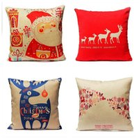 Wholesale Vintage Home Decoratives Cushion Cases Xmas Red Merry Christmas Santa Claus Deer Pillow Covers