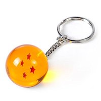 Wholesale 2 cm Crystal Acrylic Dragon Ball Z Stars Key chain Pendant Collection Toy Gift Key Ring