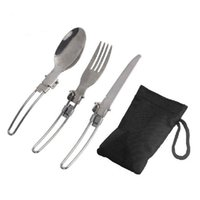 Wholesale 3 in Outdoor Camping Picnic Tableware Stainless Steel Folding Fork SpoonTab with Bag utensilios de cocina FE5